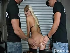 Two buddies in uniforms are screwing a hot Britney Amber