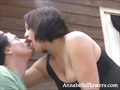 Impressive brunette milf Annabelle Flowers is swallowing a boner