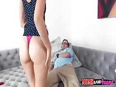 Skillful mom blowing daughter's boyfriend with pleasure